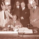 On June 16, 1933, President Franklin Roosevelt signed the Banking Act of 1933, a part of which established the FDIC. (Source: https://www.fdic.gov/about/history/)