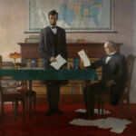Lincoln and Chase working on the national banking legislation. N.C. Wyeth painted this mural in the lobby of what was then the Federal Reserve Bank of Boston. The former bank building is today the Langham Hotel. (Source: https://www.occ.gov/about/who-we-are/history/founding-occ-national-bank-system/lincoln-and-the-founding-of-the-national-banking-system.html)